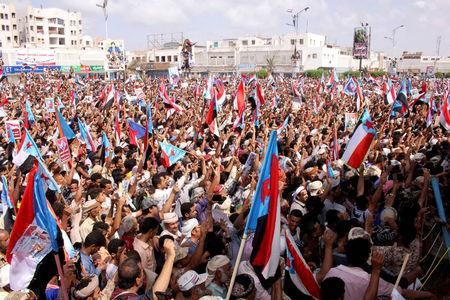 Supporters of the separatist Southern Movement demonstrate in the southern port city of Aden, Yemen