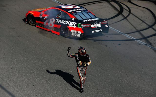 "<a class=""link rapid-noclick-resp"" href=""/nascar/sprint/drivers/380/"" data-ylk=""slk:Martin Truex Jr"">Martin Truex Jr</a>. did the Vegas and championship double for the sixth time since the Cup Series started racing at the track in 1998. (Photo by Sean Gardner/Getty Images)"