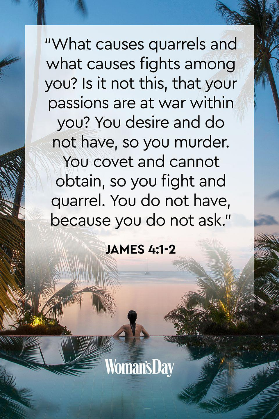 """<p>""""What causes quarrels and what causes fights among you? Is it not this, that your passions are at war within you? You desire and do not have, so you murder. You covet and cannot obtain, so you fight and quarrel. You do not have, because you do not ask.""""</p><p><strong>The Good News</strong>: Anger and jealousy can make you act out, which can lead to sin. Instead of taking from others, ask God to provide you with what you need and to give you control over your anger. </p>"""