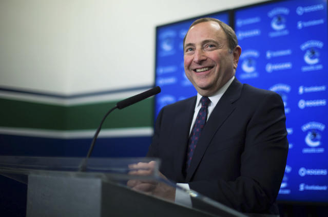 NHL Commissioner Gary Bettman responds to questions during a news conference, Friday, Jan. 30, 2015 in Vancouver, British Columbia. (AP Photo/The Canadian Press, Darryl Dyck)
