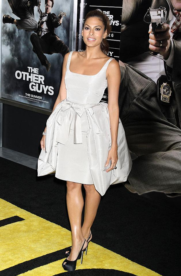"""Eva Mendes can get away with wearing just about anything ... except for couture saddlebags, courtesy of Oscar de la Renta. In addition to this disaster of a dress, the actress donned mismatched Sergio Rossi platform pumps to the NYC premiere of her new film, """"The Other Guys."""" Dara Kushner/<a href=""""http://www.infdaily.com"""" target=""""new"""">INFDaily.com</a> - August 2, 2010"""