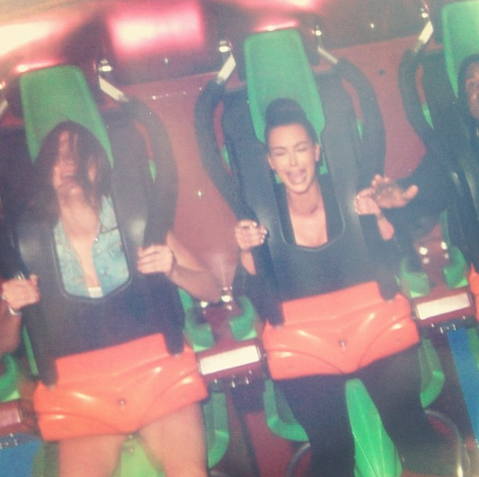 <p>Now, this is our kind of Kim Kardashian photo. She can keep all those nude selfies. We want to see more photos of her looking absolutely terrified, as she did here next to Kendall Jenner and (some of) Kanye West at Six Flags Magic Mountain. (Photo: Kim Kardashian via Instagram) </p>