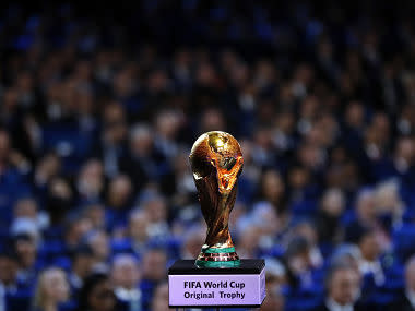 FILE - In this Friday Dec. 1, 2017 file photo, the World Cup trophy is placed on display during the 2018 soccer World Cup draw in the Kremlin in Moscow. Morocco says it will have to spend $16 billion to prepare the country to host the 2026 World Cup, with every proposed stadium and training ground needing to be built from scratch or renovated. With less than three months until the FIFA vote, the north African nation presented details of its proposal to take on the joint bid from the United States, Canada and Mexico. (AP Photo/Alexander Zemlianichenko, file)
