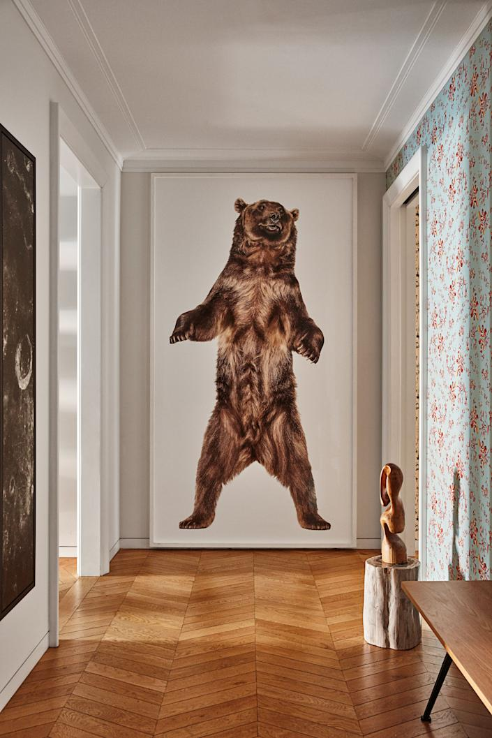 """<div class=""""caption""""> The entry features Zuckerman's 2009 photograph of a grizzly bear and Superflower's Cannonball pattern. </div>"""