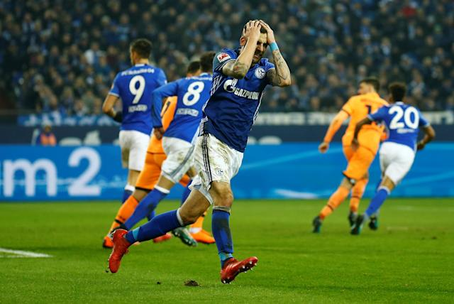 Soccer Football - Bundesliga - Schalke 04 vs TSG 1899 Hoffenheim - Veltins-Arena, Gelsenkirchen, Germany - February 17, 2018 Schalke's Guido Burgstaller reacts after missing a chance to score REUTERS/Leon Kuegeler DFL RULES TO LIMIT THE ONLINE USAGE DURING MATCH TIME TO 15 PICTURES PER GAME. IMAGE SEQUENCES TO SIMULATE VIDEO IS NOT ALLOWED AT ANY TIME. FOR FURTHER QUERIES PLEASE CONTACT DFL DIRECTLY AT + 49 69 650050
