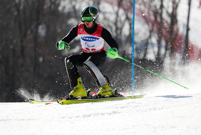 Alpine Skiing - Pyeongchang 2018 Winter Paralympics - Men's Slalom - Standing - Run 1 - Jeongseon Alpine Centre - Jeongseon, South Korea - March 17, 2018 - Aleksei Bugaev, a Paralympic Athlete from Russia, right before crashing out. REUTERS/Paul Hanna