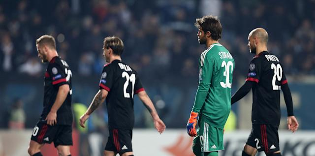 Soccer Football - Europa League - HNK Rijeka vs AC Milan - Stadion HNK Rijeka, Rijeka, Croatia - December 7, 2017 AC Milan's Marco Storari, Gabriel Paletta and Lucas Biglia look dejected after the match REUTERS/Antonio Bronic