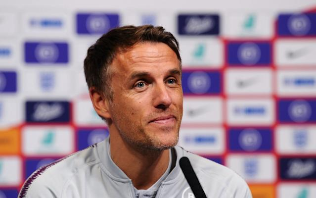England manager Phil Neville has said he wants England to repeat their sold-out Wembley match against Germany every year - Getty Images Europe