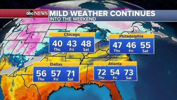 PHOTO: This mild weather will be on and off through the weekend for the Eastern U.S. with temperatures nearing 50 degrees by Saturday, even in recently frozen Chicago. (ABC News)