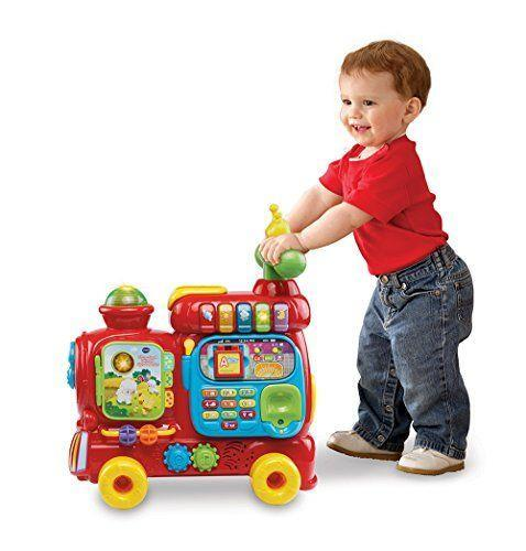 "<p><strong>VTech</strong></p><p>amazon.com</p><p><strong>$47.74</strong></p><p><a href=""https://www.amazon.com/dp/B00ZCZU71U?tag=syn-yahoo-20&ascsubtag=%5Bartid%7C10055.g.34425717%5Bsrc%7Cyahoo-us"" rel=""nofollow noopener"" target=""_blank"" data-ylk=""slk:Shop Now"" class=""link rapid-noclick-resp"">Shop Now</a></p><p>Young ones can start exploring the Ultimate Alphabet Train during floor play and transition into ride-on fun as they grow and develop. The train includes ten activities to engage role-play (walkie-talkies!), encourage motor development (gears and blocks), and invite educational learning (numbers, animals, colors and more). The<strong> interactive train will keep your little conductor engaged with over 100 songs, melodies, sounds and phrases. </strong><br><strong><br>Ages: </strong>1-3 years old </p>"