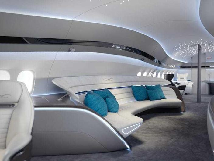 Inside the swank space-age interiors of the Boeing 737 Max Jet.