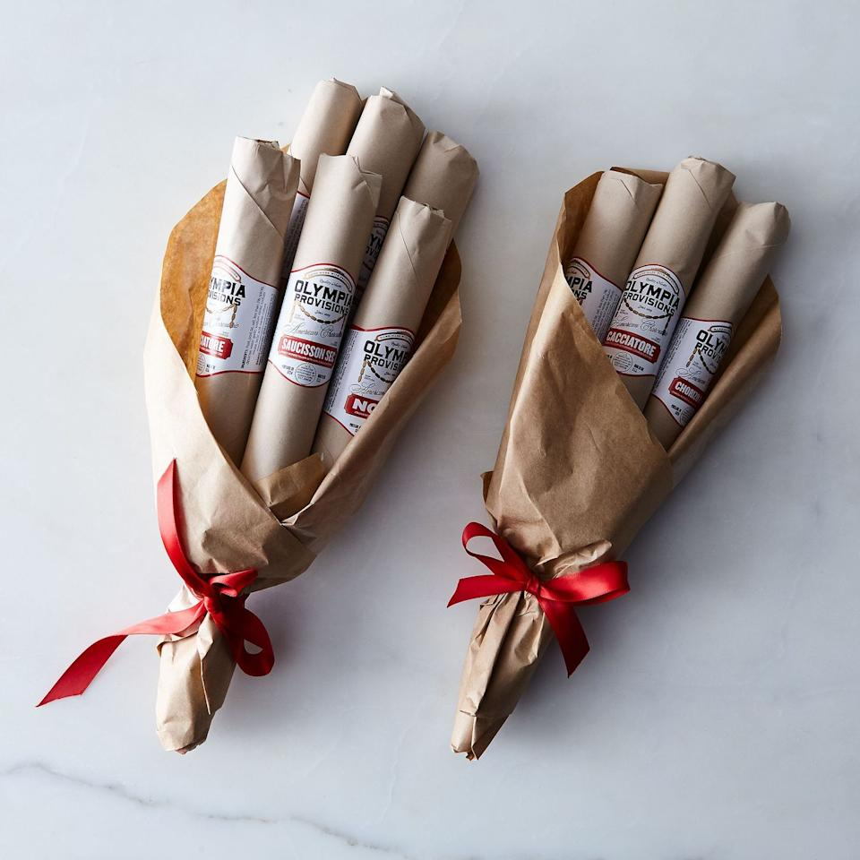 "<p>Maybe your dad likes flowers! Or maybe he likes cured meats... Either way, they're always better in bunches. Go to the supermarket to pick out his favorite salamis and then tie a bow around them. Or get this cheeky and gourmet salami bouquet from Food52 if you'd rather not create it yourself. </p><p><a class=""body-btn-link"" href=""https://go.redirectingat.com?id=74968X1596630&url=https%3A%2F%2Ffood52.com%2Fshop%2Fproducts%2F3807-olympia-provisions-salami-bouquet&sref=http%3A%2F%2Fwww.housebeautiful.com%2Fentertaining%2Fholidays-celebrations%2Fg27758634%2Fhomemade-fathers-day-gifts%2F"" target=""_blank"">BUY NOW</a> <strong><em>Olympia Provisions Salami Bouquet, $55</em></strong></p>"