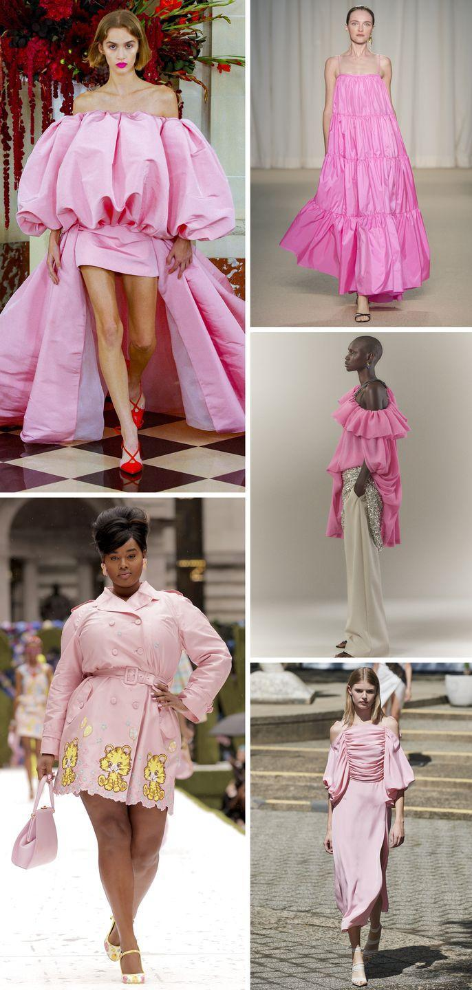 <p>It seems that all those sweatpants in lockdown lead us right here: bubblegum-pink confections. Ladies are hiding no more—bring on the froth in voluminous dresses, frilly tops, and sweet trenches.</p><p><em>Pictured clockwise: Carolina Herrera, Adam Lippes, 3.1 Phillip Lim, Rodarte, Moschino.</em></p>