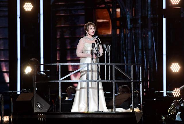 <p>Actress Patti LuPone performs onstage during the 60th Annual Grammy Awards at Madison Square Garden on January 28, 2018, in New York City. (Photo: Getty Images) </p>
