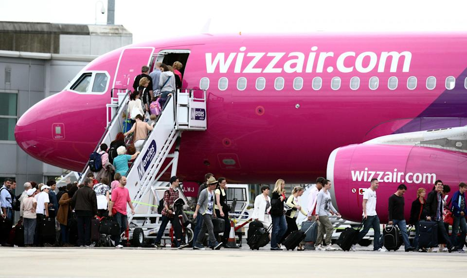 A file photo of a Wizz Air plane, as the no-frills carrier has the worst punctuality record of major airlines operating from UK airports: Steve Parsons/PA