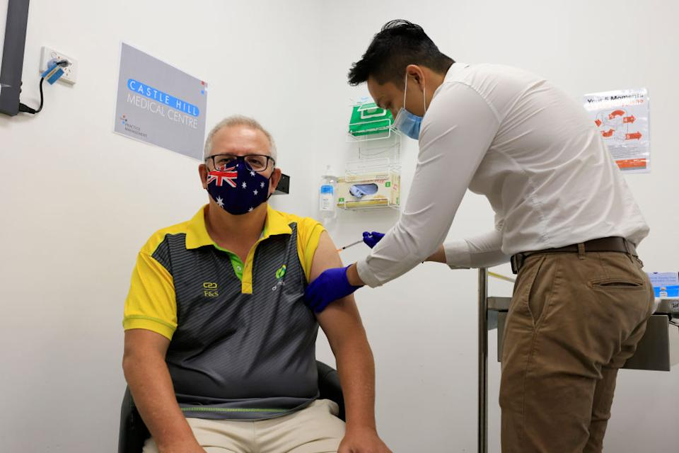 Australian Prime Minister Scott Morrison receives a Covid-19 vaccination from Doctor Jesse Li at Castle Hill Medical Centre in Sydney, Australia.