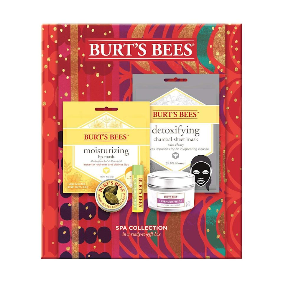 """<p>Encourage everyone to indulge in a little pampering this holiday season with this inexpensive skincare set featuring a face mask, lip and hand butters, and a candle, all of which are made with natural ingredients. </p> <p><strong>To buy:</strong> $15; <a href=""""https://www.amazon.com/Burts-Bees-Collection-Holiday-Products/dp/B07T9CHXBJ/ref=as_li_ss_tl?ie=UTF8&linkCode=ll1&tag=rsggamazongiftsjmattern1019-20&linkId=b816246d73a2fda3f8bf9e8fab66311c&language=en_US"""" target=""""_blank"""">amazon.com</a>.</p>"""