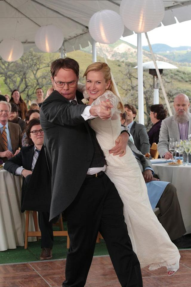 """Finale"" Episode 924/925 -- Pictured: (l-r) Rainn Wilson as Dwight Schrute, Angela Kinsey as Angela Martin"