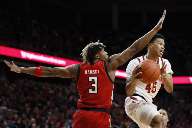 Iowa State guard Rasir Bolton (45) drives past Texas Tech guard Jahmi'us Ramsey (3) during the first half of an NCAA college basketball game Saturday, Feb. 22, 2020, in Ames, Iowa. (AP Photo/Charlie Neibergall)