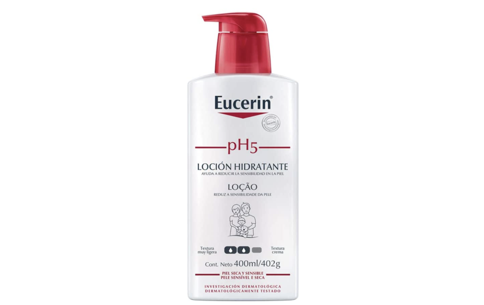 Eucerin Ph5 Loción Corporal Ligera para Piel Sensible o Seca, 400ml. Foto: amazon.com.mx.