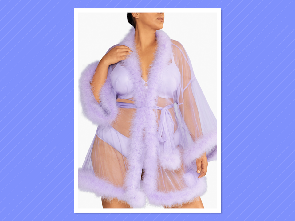 "<p>Savage x Fenty sheer marabou short robe, $79, <a rel=""nofollow noopener"" href=""https://www.savagex.com/products/6587053"" target=""_blank"" data-ylk=""slk:savagex.com"" class=""link rapid-noclick-resp"">savagex.com</a> </p>"