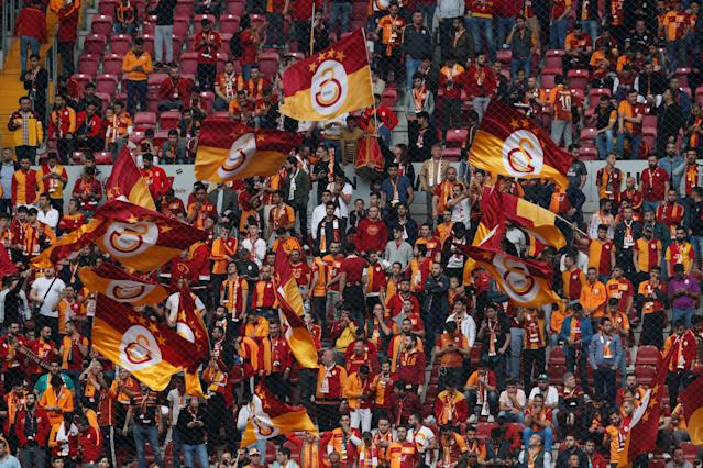 Soccer Football - Turkish Super League - Galatasaray v Besiktas - Turk Telekom Arena, Istanbul, Turkey - April 29, 2018 Galatasaray fans before the match REUTERS/Murad Sezer