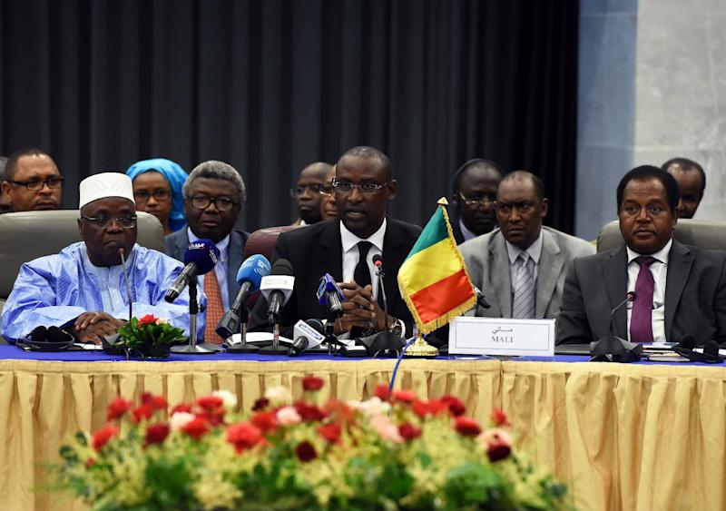 Malian Foreign Minister Abdoulaye Diop (C) chairs a meeting on peace talks attended by Mali's various warring factions, on July 16, 2014 in the Algerian capital Algiers