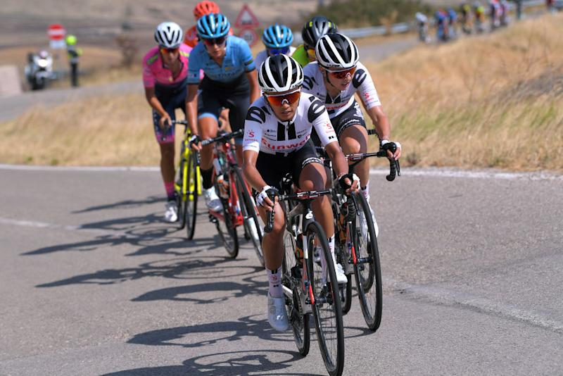 MOTTAMONTECORVINO ITALY SEPTEMBER 19 Coryn Rivera of The United States and Team Sunweb Juliette Labous of France and Team Sunweb Breakaway during the 31st Giro dItalia Internazionale Femminile 2020 Stage 9 a 1099km stage from Motta Montecorvino to Motta Montecorvino 645m GiroRosaIccrea GiroRosa on September 19 2020 in Motta Montecorvino Italy Photo by Luc ClaessenGetty Images