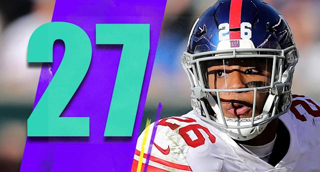 <p>Saquon Barkley is on pace for 1,206 rushing yards and 845 receiving yards. Only Roger Craig and Marshall Faulk have rushed for 1,000 yards and had 1,000 receiving yards in the same season. Barkley might not get there, but being this close as a rookie is amazing. (Saquon Barkley) </p>