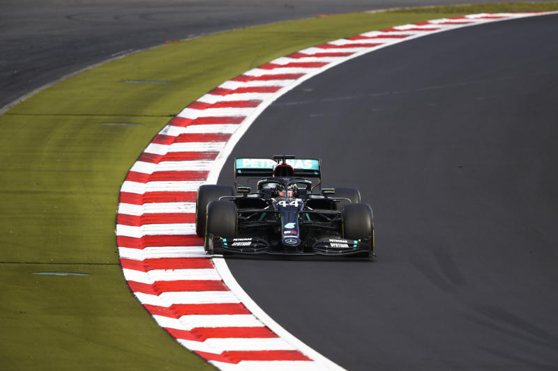 Lewis Hamilton is on the way to his eighth Formula 1 title. (Bryn Lennon, Pool via AP)