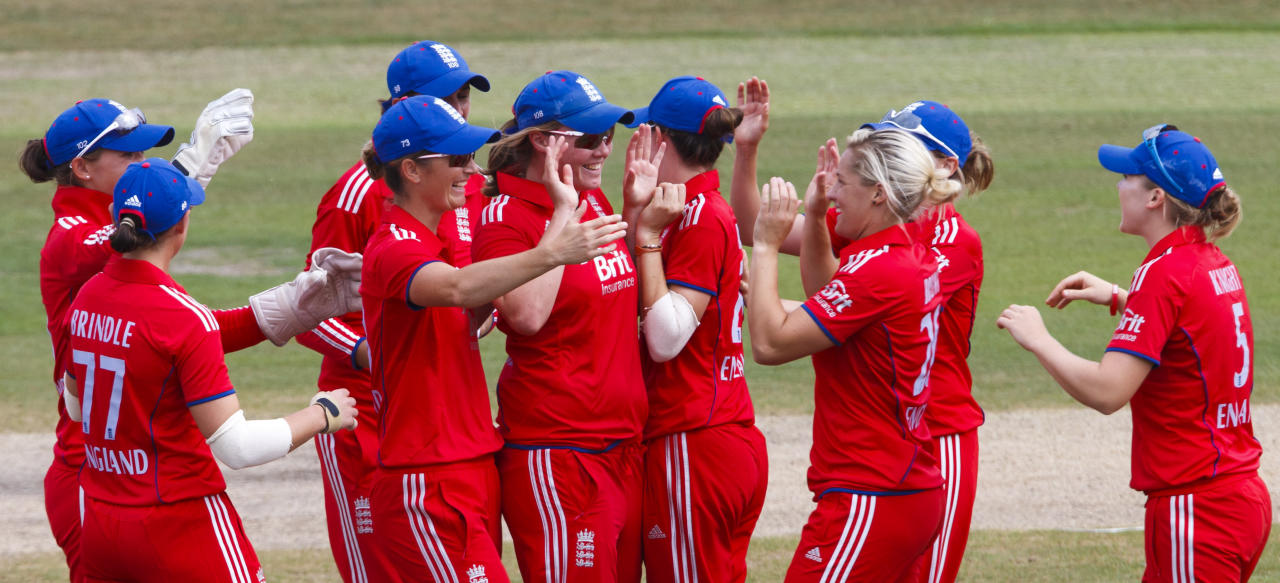 England's Anya Shrubsole (centre) celebrates catching Australian opener Rachael Haynes during the One Day International at The County Ground, Hove.