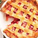 """<p>Celebrate spring with this tart and sweet pie while you can! Lucky for all of us, strawberry season coincides with rhubarb season, making them the perfect pairing for a pie. That's not the only reason though—the tartness of the rhubarb is the perfect foil to strawberry's sweetness.</p><p>Get the<a href=""""https://www.delish.com/uk/cooking/recipes/a33453257/best-strawberry-rhubarb-pie-recipe/"""" rel=""""nofollow noopener"""" target=""""_blank"""" data-ylk=""""slk:Strawberry Rhubarb Pie"""" class=""""link rapid-noclick-resp""""> Strawberry Rhubarb Pie</a> recipe.</p>"""