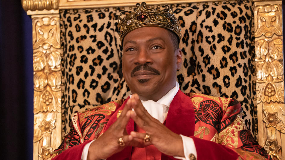 "More than 30 years after his previous screen appearance, Zamundan prince Akeem is back, with <a href=""https://uk.movies.yahoo.com/coming-2-america-first-look-image-eddie-murphy-150613563.html"" data-ylk=""slk:Eddie Murphy again playing the African royal;outcm:mb_qualified_link;_E:mb_qualified_link;ct:story;"" class=""link rapid-noclick-resp yahoo-link"">Eddie Murphy again playing the African royal</a>. The story picks up Akeem as he prepares to ascend to the throne, discovering a child (Jermaine Fowler) he never knew about in America. Murphy will hope to continue the momentum he has built since his comedy comeback in <em>Dolemite is my Name</em>. (Credit: Amazon Studios)"