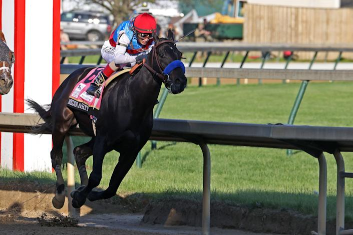 Medina Spirit, ridden by John Velasquez, is seen during the 147th Kentucky Derby on May 1, at Churchill Downs in Louisville, Kentucky. (Photo: Icon Sportswire via Getty Images)