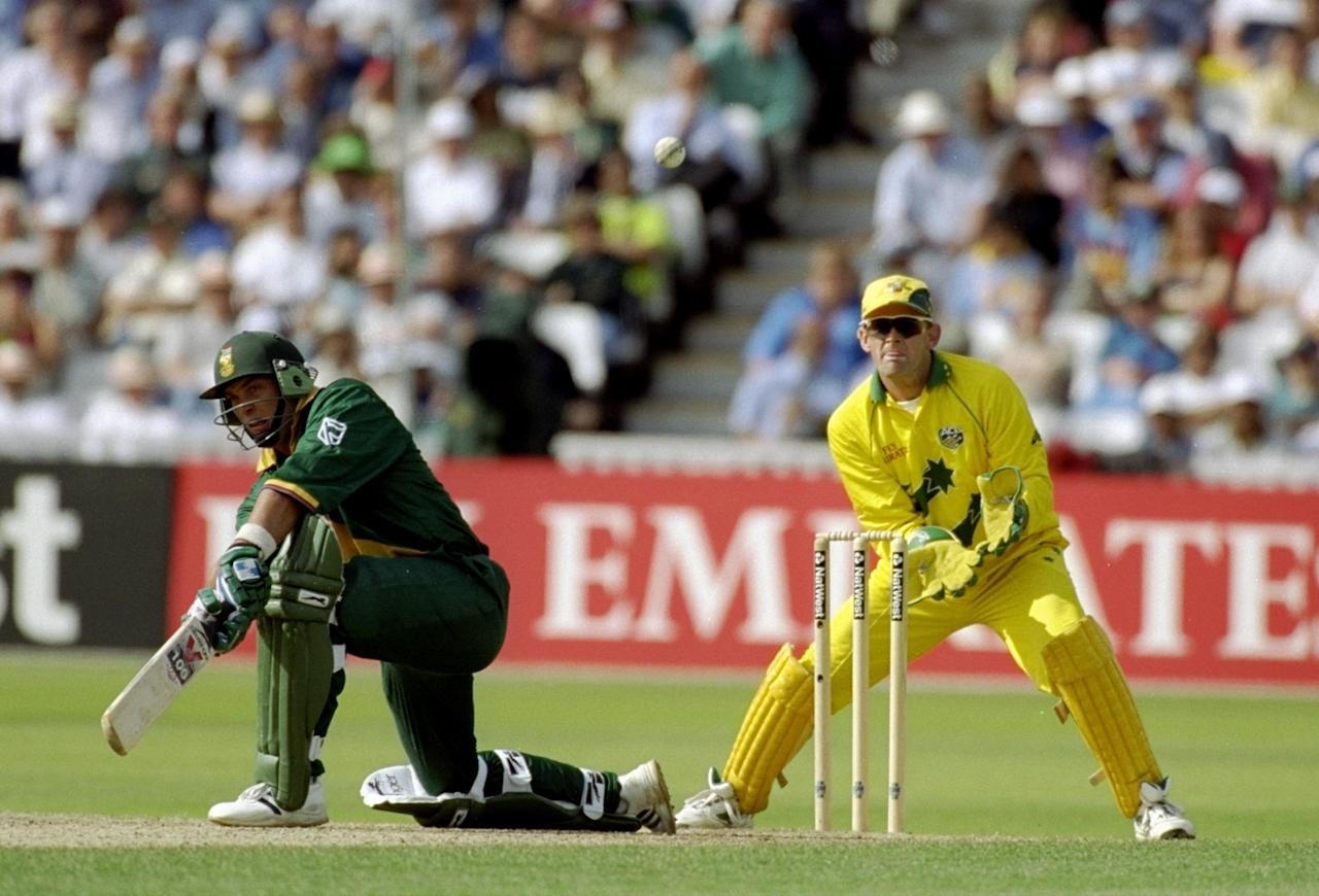 17 Jun 1999:  Jacques Kallis of South Africa on his way to 53 against Australia in the World Cup semi-final at Edgbaston in Birmingham, England. The match finished a tie as Australia went through after finishing higher in the Super Six table. \ MandatoryCredit: Ross Kinnaird /Allsport