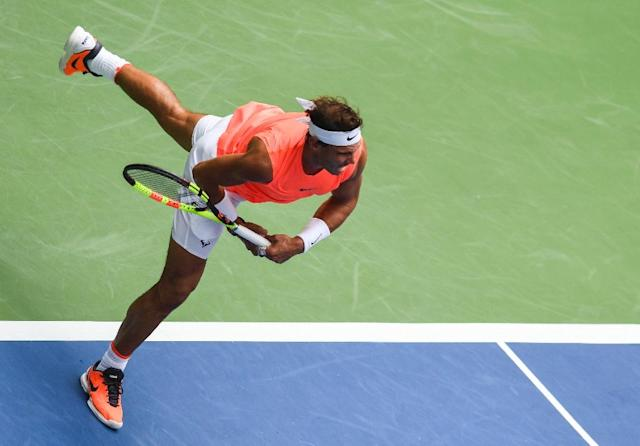 On the move: Rafael Nadal in action in the US Open last 16 against Nikoloz Basilashvili (AFP Photo/Don EMMERT)