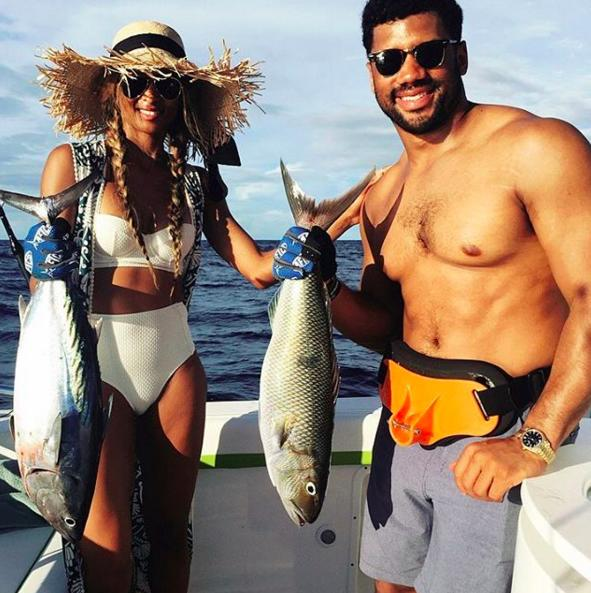 Beginner's luck? During an island getaway, the NFL quarterback and the singer headed out for the big ones. It was her first time, but she was successful, which she described as a