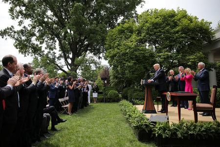 U.S. President Donald Trump speaks during a National Day of Prayer event at the Rose Garden of the White House in Washington D.C., U.S., May 4, 2017. REUTERS/Carlos Barria
