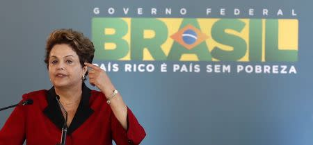 Brazilian President Dilma Rousseff speaks as she attends the inauguration of Terminal 3 at Guarulhos International airport in Sao Paulo