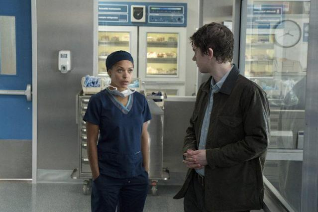 Antonia Thomas as Claire Browne and Freddie Highmore as Shaun Murphy in ABC's 'The Good Doctor' (Credit: ABC/Liane Hentscher)