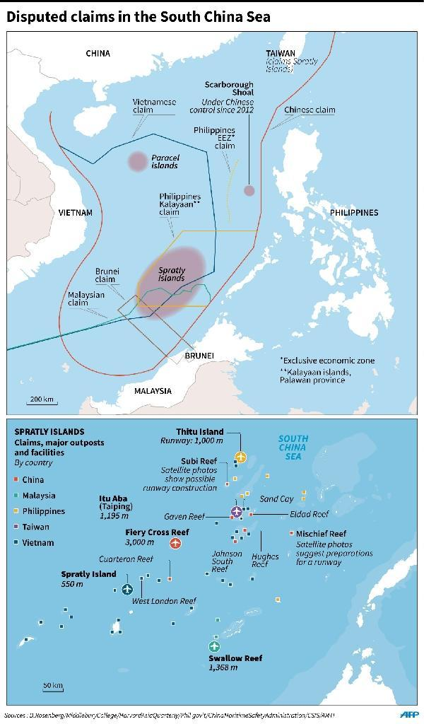 Disputed claims in the South China Sea (AFP Photo/Adrian LEUNG, Gal ROMA)