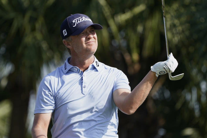 Matt Jones of Australia reacts to his tee shot from the seventh hole during the second round of the Honda Classic golf tournament, Friday, March 19, 2021, in Palm Beach Gardens, Fla. (AP Photo/Marta Lavandier)