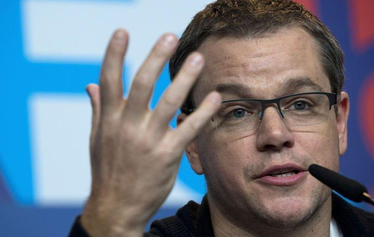 """US actor Matt Damon addresses a press conference for the film """"Promised Land"""", competing in the 63rd Berlinale Film Festival, in Berlin February 8, 2013. Damon defended his new anti-fracking feature against poor reviews and ticket sales and said it was getting harder to make """"issue movies"""""""