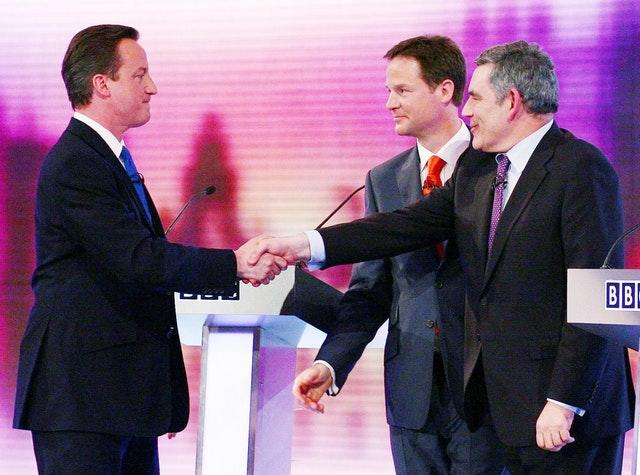 David Cameron, Nick Clegg and Gordon Brown after an election debate in 2010