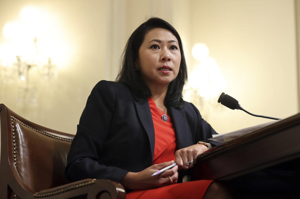 FILE - In this July 27, 2021, file photo Rep. Stephanie Murphy, D-Fla., speaks before the House select committee hearing on the Jan. 6 attack on Capitol Hill in Washington. One side is energized by the prospect of the greatest expansion of government support since the New Deal nearly a century ago. The other is fearful about dramatically expanding Washington's reach at an enormous cost. They are all Democrats, yet are taking vastly different approaches to the the massive $3.5 trillion spending bill moving through Congress. (Chip Somodevilla/Pool via AP, File)