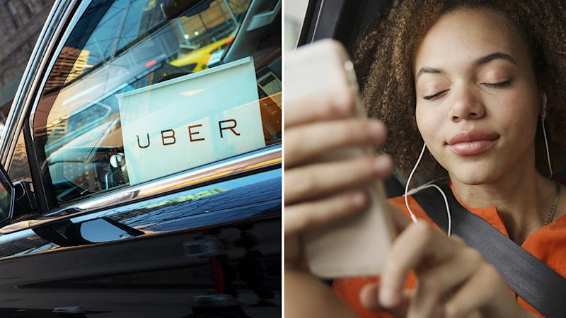An uber vehicle (left) and a woman closing her eyes, with her headphones in while in a car (right)