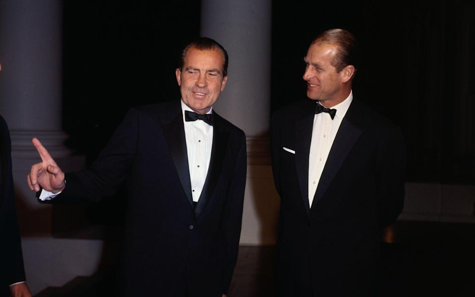 Prince Philip Speaking with President Nixon