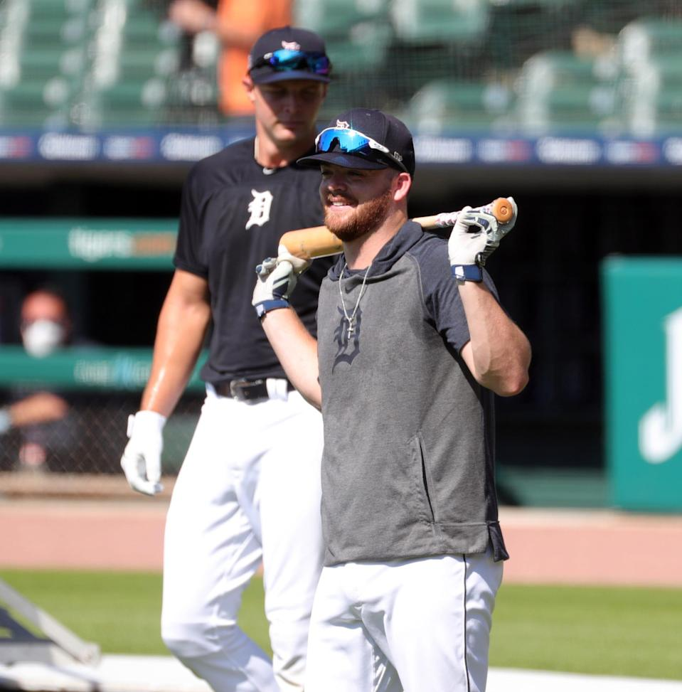 The Detroit Tigers held workouts at Comerica Park Friday, July 3, 2020. Catcher Jake Rogers waits to take batting practice as the team prepares for the shortened 2020 season.