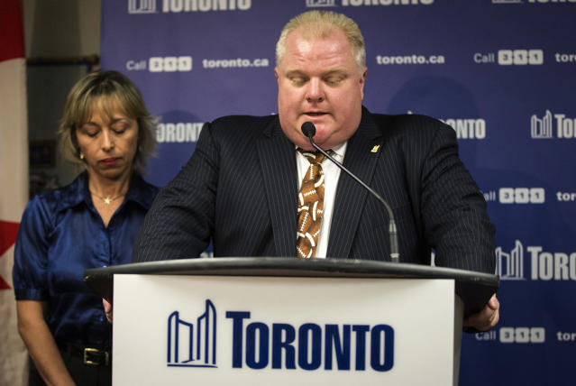 <p>Rob Ford, the 64th mayor of Toronto who became known worldwide for multiple substance abuse-related incidents, including a widely circulated video of him smoking crack, died of cancer on March 22. He was 46. — (Pictured) Toronto Mayor Rob Ford speaks at a news conference with his wife Renata (L) at City Hall in Toronto in 2013. (Mark Blinch/Reuters) </p>