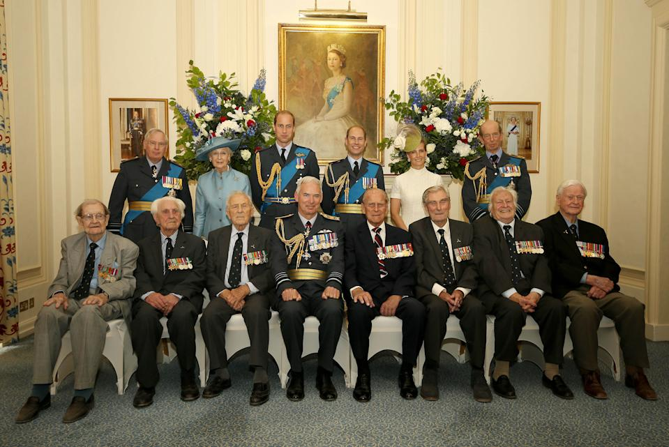 LONDON, ENGLAND - JULY 10: (top row L-R) Prince Richard, Duke of Gloucester, Princess Alexandria, Prince William, Duke of Cambridge, Prince Edward, Earl of Wessex, Sophie, Countess of Wessex, Prince Edward, Duke of Kent, (bottom row L-R) Wing Commander Terence Kane, Flying Officer Ken Wilkinson, Squadron Leader Tony Pickering, Chief of the Air Staff (CAS) Sir Andrew Pulford, Prince Philip, Duke of Edinburgh, Wing Commander Paul Farnes, Pilot Geofrey Wellum and Wing Commander Tom Neil pose for a group photo during a pre-lunch reception at the RAF Club to commemorate the 75th Anniversary Of The Battle Of Britain on July 10, 2015 in London, England.  (Photo by Steve Parsons - WPA Pool /Getty Images)